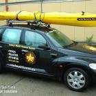 Surf ski with branding & vehicle with business branding and contact details. Personal training signage Surf ski & vehicle branding by Absolute Sign Solutions Australia