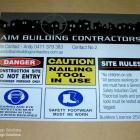 Absolute sign Solutions make all types of builders site signs and site specific safety signs. We can custom make small or large orders to suit your signage requirements Builders site signs and safety signs custom made in Sydney Australia