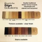 Colours and timber types available for traditional honour boards Honour boards made in Sydney by Absolute Sign Solutions Australia